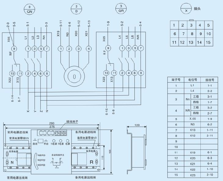 cq3双电源自动转换开关接线图